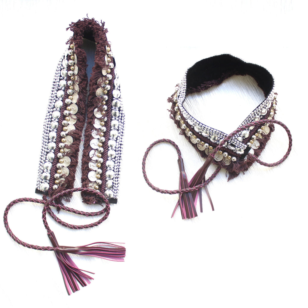 Bohemian Coin Waist Belt - Wine