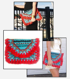 Ruby Azure Beaded Clutch Boho Bag