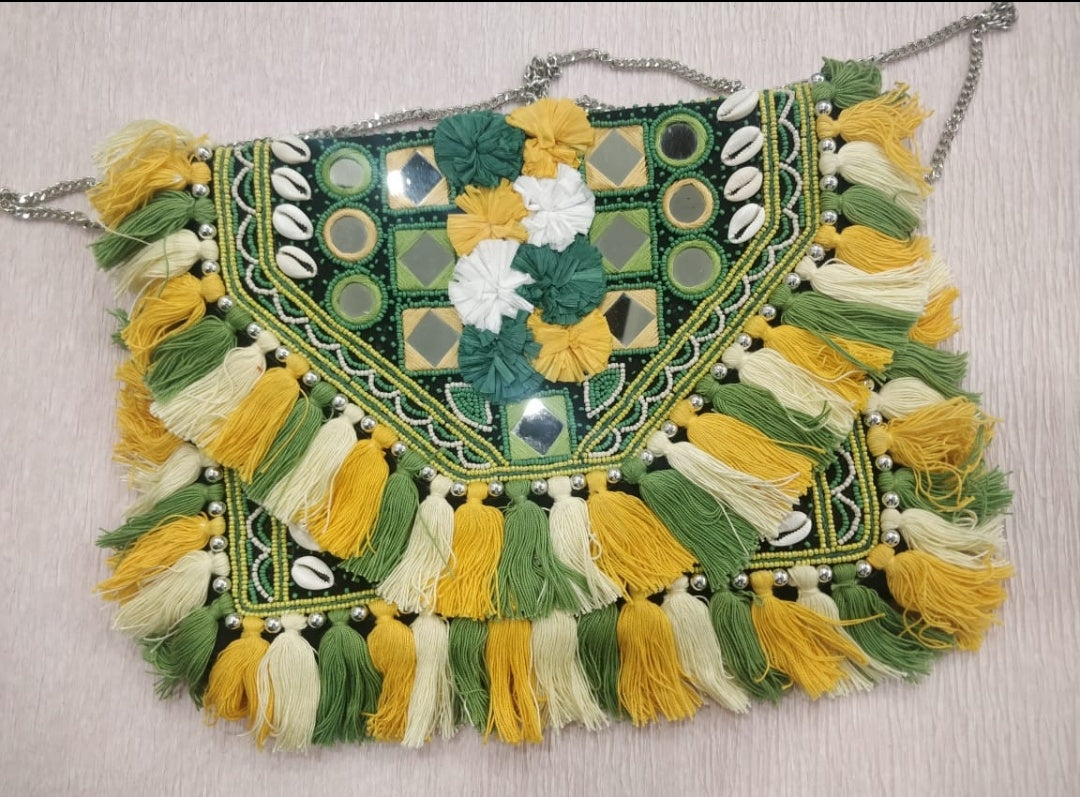 Rome Green Yellow Tassle Clutch Boho Bag