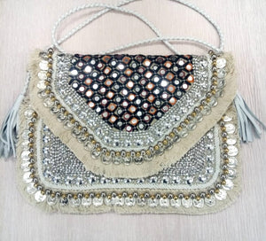 Anavrin Mirror Work White Jute Coin Clutch