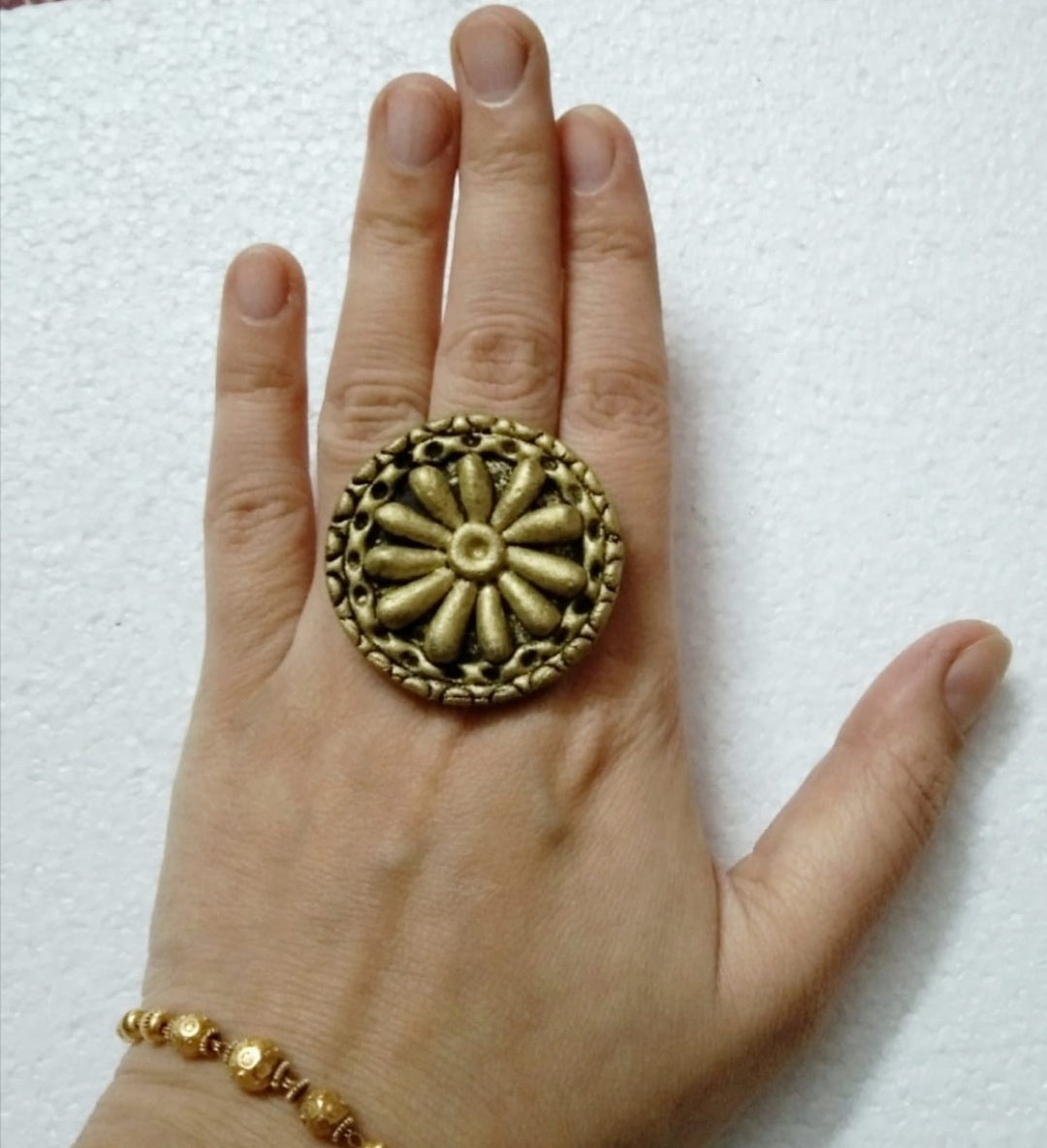 Golden Tribal Adjustable Big Ring6