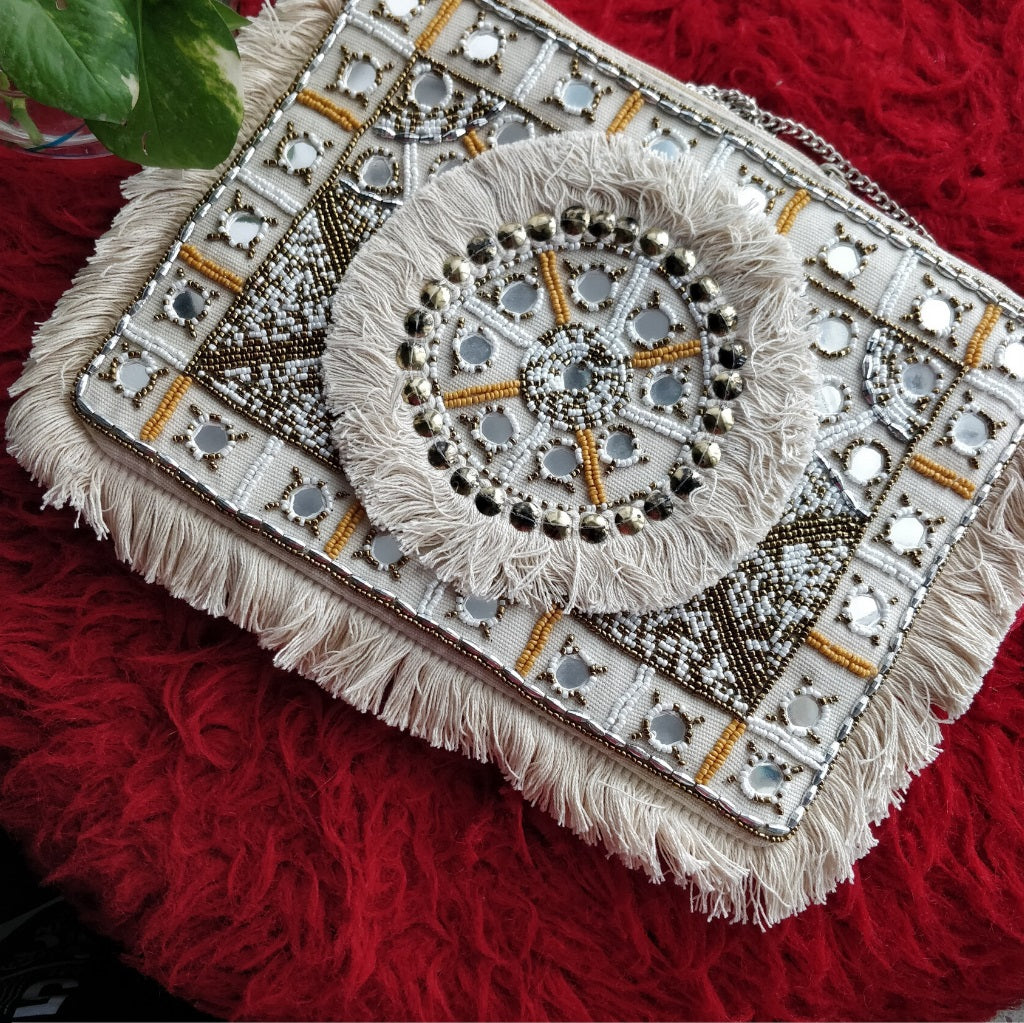Snow White Beaded Mirror Clutch