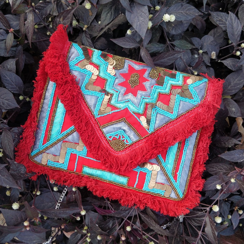 Red Fire Beaded Bohemian Bag