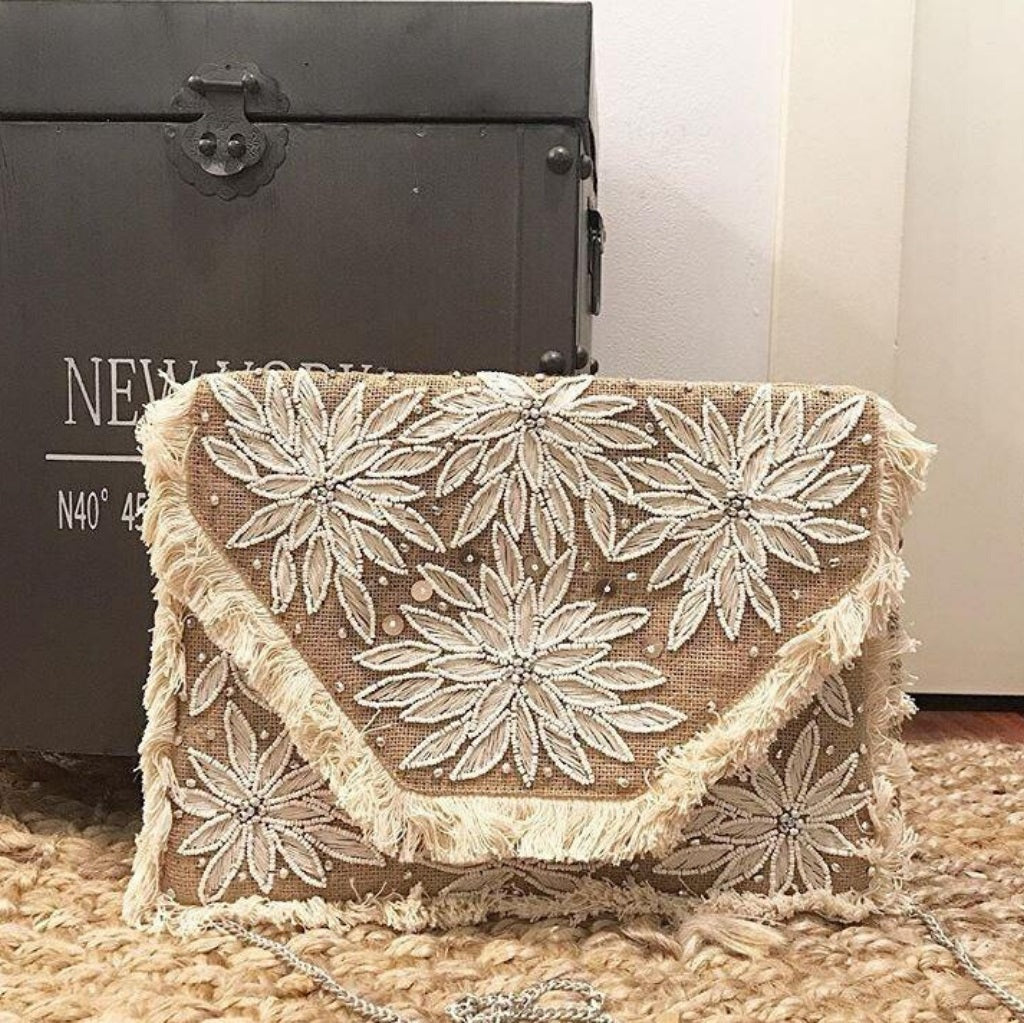 Blossoming White Beaded Jute Clutch Boho Bag
