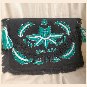 Paphos Black Jute Clutch Boho Bag