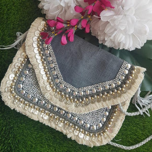 Grey Jute Coin Clutch