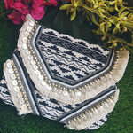 Black White Jacquard Coin Bohemian Bag2