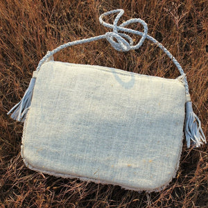 Boho Amulet White Embroidered Jute Coin  Bag