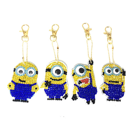 Set of 4 Minion | Key Chains | Diamond Painting - Treasure Studios Art