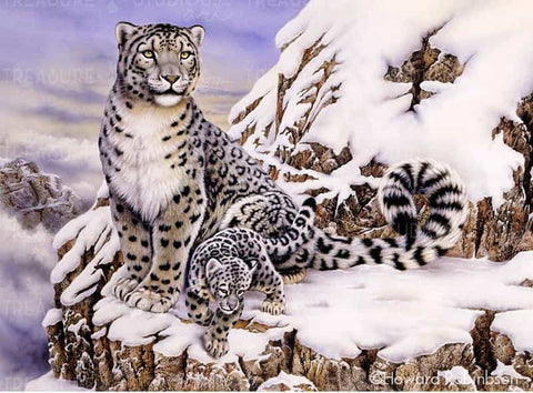 Snow Leopard & Cub by Howard Robinson | Diamond Painting