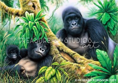 Mountain Gorilla Repose by Howard Robinson | Diamond Painting - Treasure Studios Art