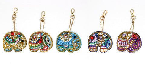 Set of 5 Art Elephants | Key Chains | Diamond Painting - Treasure Studios Art