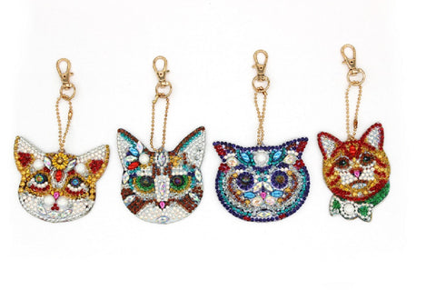 Set of 4 Cats | Key Chains | Diamond Painting - Treasure Studios Art