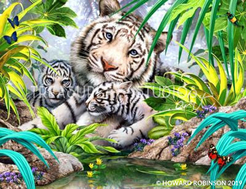 White Tiger reflection by Howard Robinson | Diamond Painting - Treasure Studios Art