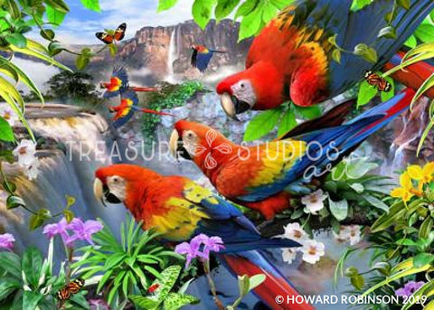Flight of the Macaws by Howard Robinson | Diamond Painting - Treasure Studios Art