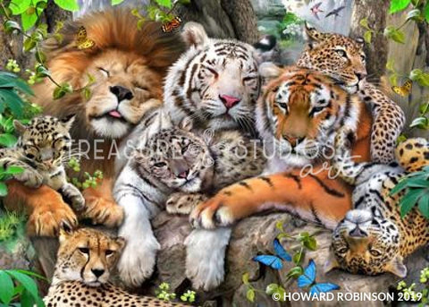 Big Cat Nap by Howard Robinson | Diamond Painting - Treasure Studios Art