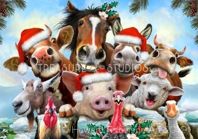 Farm Christmas Selfie : by Howard Robinson | Diamond Painting - Treasure Studios Art