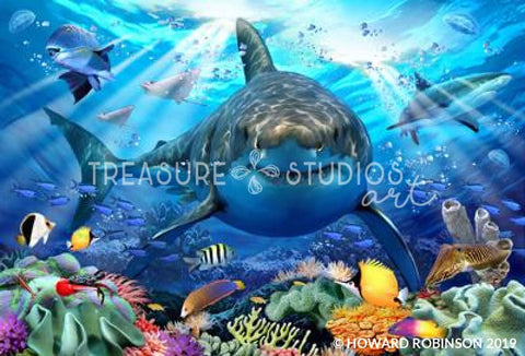 Great White Shark by Howard Robinson | Diamond Painting - Treasure Studios Art