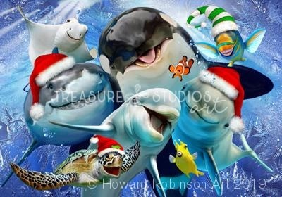 Ocean Christmas Selfie : by Howard Robinson | Diamond Painting - Treasure Studios Art