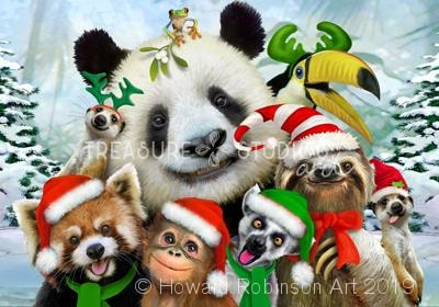 Christmas Zoo Selfie : by Howard Robinson | Diamond Painting - Treasure Studios Art