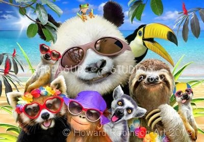 Beach Party Selfie with Panda : by Howard Robinson | Diamond Painting - Treasure Studios Art
