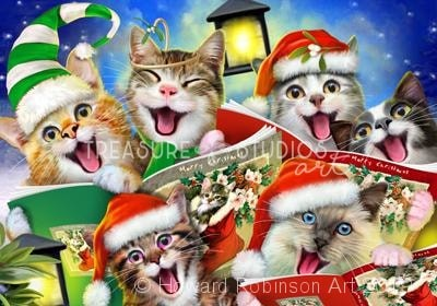 Carolling Cats Christmas Selfie : by Howard Robinson | Diamond Painting - Treasure Studios Art