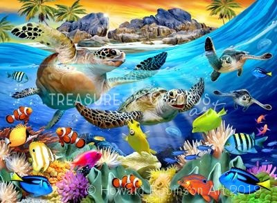 Turtle beach : by Howard Robinson | Diamond Painting - Treasure Studios Art