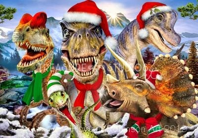 Dinos Christmas Selfie : by Howard Robinson | Diamond Painting - Treasure Studios Art