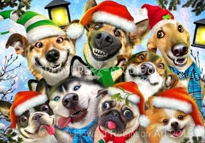 Dog Cheer Christmas Selfie : by Howard Robinson | Diamond Painting - Treasure Studios Art