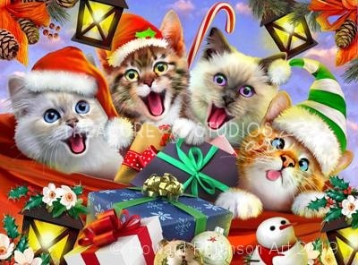 Kitten Christmas Selfie : by Howard Robinson | Diamond Painting - Treasure Studios Art