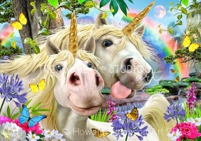 Unicorn Selfie  : by Howard Robinson | Diamond Painting - Treasure Studios Art