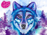 Blue Wolf | Signature Series | Diamond Painting - Treasure Studios Art