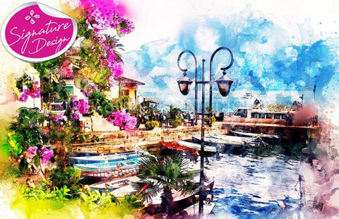 Cafe Life at the Jetty | SIGNATURE | Diamond Painting - Treasure Studios Art