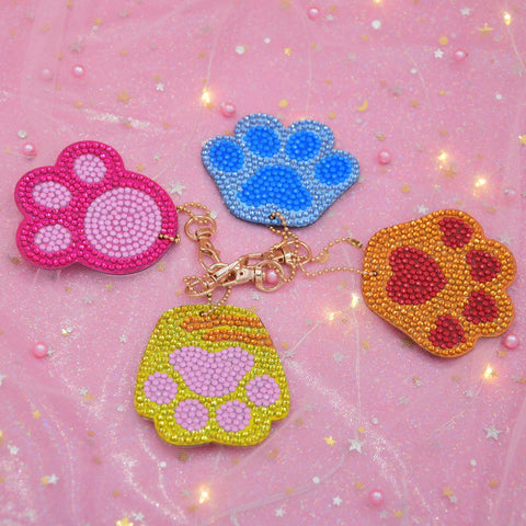 Set of 4 Paw Prints | Key Chains | Diamond Painting - Treasure Studios Art