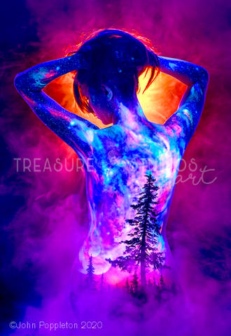 Fantasy Forest Fire by John Poppleton | Diamond Painting - Treasure Studios Art