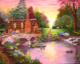Fishing by the Footbridge by Debra Dickson | Diamond Painting