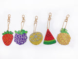 Set of 5  Colorful Fruit | Key Chains | Diamond Painting - Treasure Studios Art