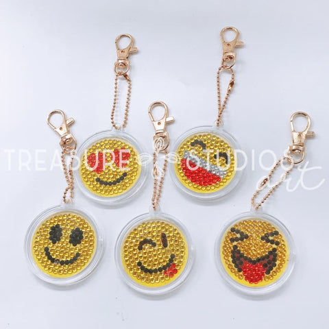 Set of 5 Smiley Faces | Key Chains | Diamond Painting - Treasure Studios Art