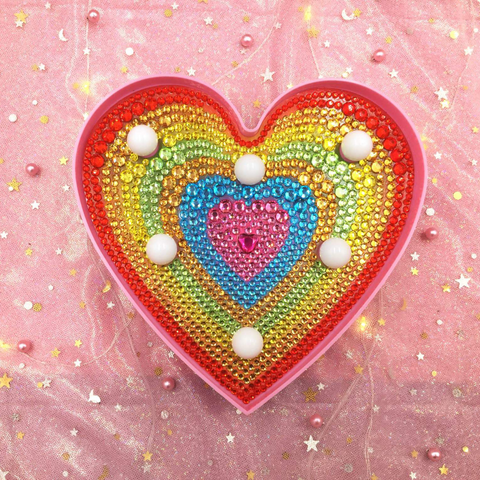 Crystal Rainbow Heart | LED Light | Diamond Painting - Treasure Studios Art