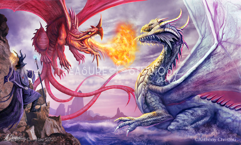 Merlin & the Dragons by Anthony Christou | Diamond Painting - Treasure Studios Art