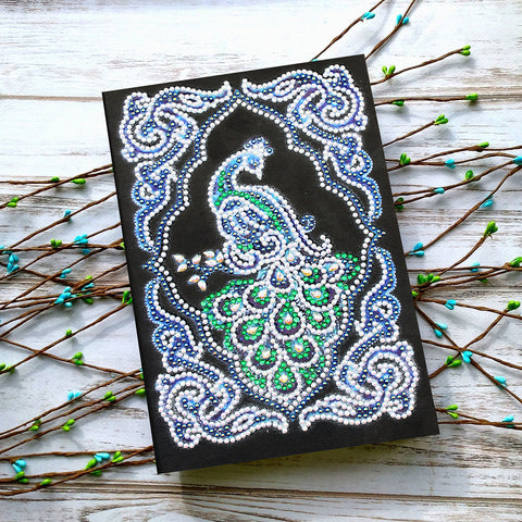 Peacock Beauty Journal Note Book | Diamond Painting - Treasure Studios Art
