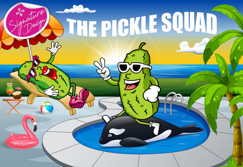 Pickle Squad by the Pool | SIGNATURE |  Diamond Painting - Treasure Studios Art