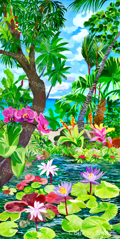Pink Orchids on a Lotus Pond by Eileen Seitz | Diamond Painting