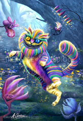 Rainbow Cheshire Cat by Anthony Christou | Diamond Painting - Treasure Studios Art