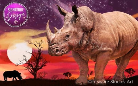 African Rhino Sunset  | SIGNATURE Design |  Diamond Painting - Treasure Studios Art