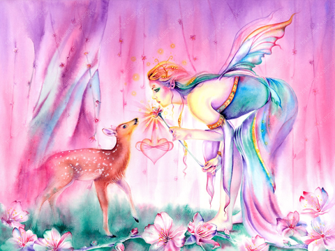 Sienna and the Deer Embrace The Cherry Blossom Tree by Michelle Tracey | Diamond Painting