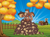 Squirrel on a Nut Pile  ~ Farm Scene  | SIGNATURE |  Diamond Painting - Treasure Studios Art