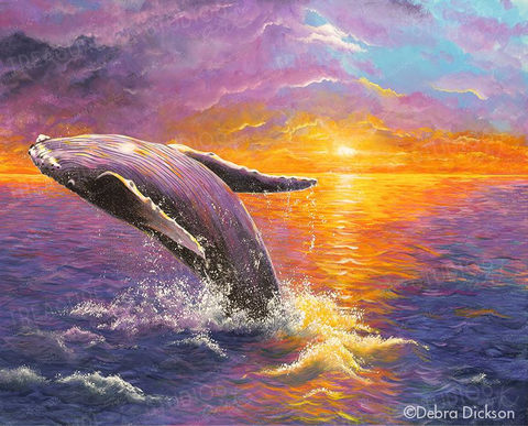 Humpback Whale on Sunset by Debra Dickson | Diamond Painting