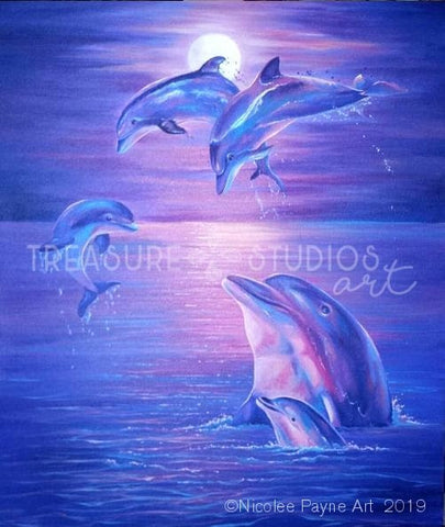 Moonlight Dolphins by Nicolee Payne | Diamond Painting - Treasure Studios Art