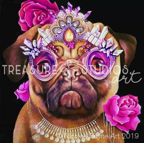 Queeny the Pug by Nicolee Payne | Diamond Painting - Treasure Studios Art